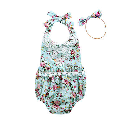 Infant Baby Girls Sleeveless Lace Floral Bodysuit Headband sets clothes Tassels Bodysuits Headwear Sunsuit Outfits Jumpsuit