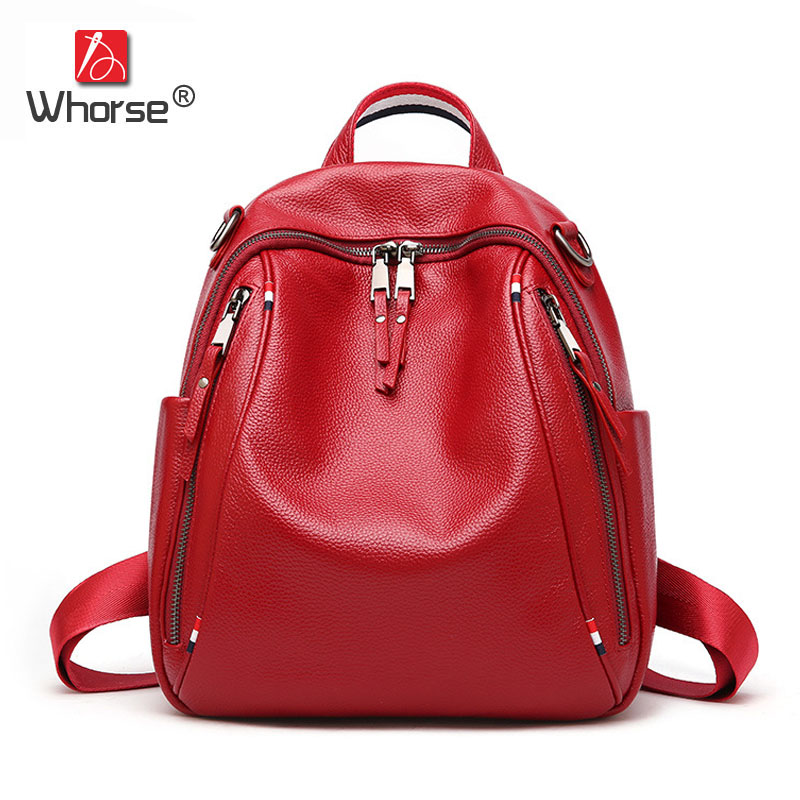 цена на Famous Brand England Style Women Backpack Natural Cowhide Ladies Daypack Backpacks Travel Bags Genuine Leather Back Pack W09770