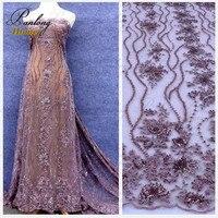 PanlongHome אדום/זהב דפוס גל צינור גביש חרוזים פאייטים שמלות כלה תחרת בד בד בד רקמת חוט נקי