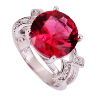 New Fashion Pretty Pink Tourmaline 925 Silver Ring Round Cut Size 6 7 8 9 10 11 12 13 Wholesale Free Shipping For Women Jewelry