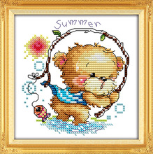 The four seasons little bear-summer, counted printed on fabric 14CT 11CT Cross Stitch kits,embroidery needlework Sets Home Decor
