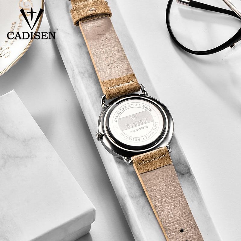 Image 3 - CADISEN New Fashion Mens Watches Quartz Clock Ultra Thin Business Watch Mens Leather Wristwatch Waterproof Relogio MasculinoQuartz Watches   -