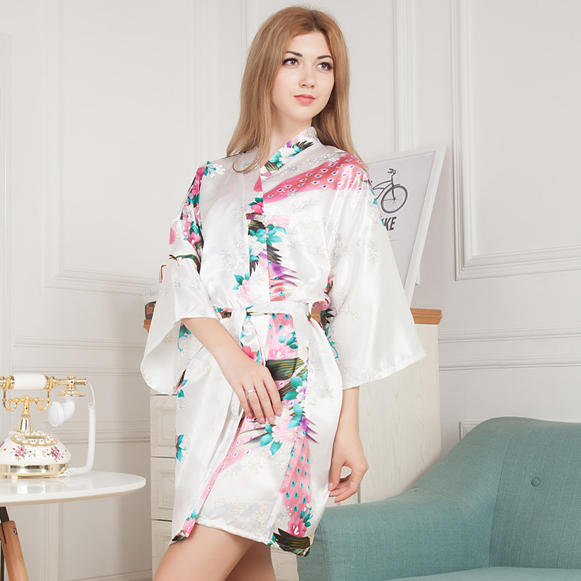 New White Pink Bathrobe Silk Robes For Bridesmaids Silk Wedding ...