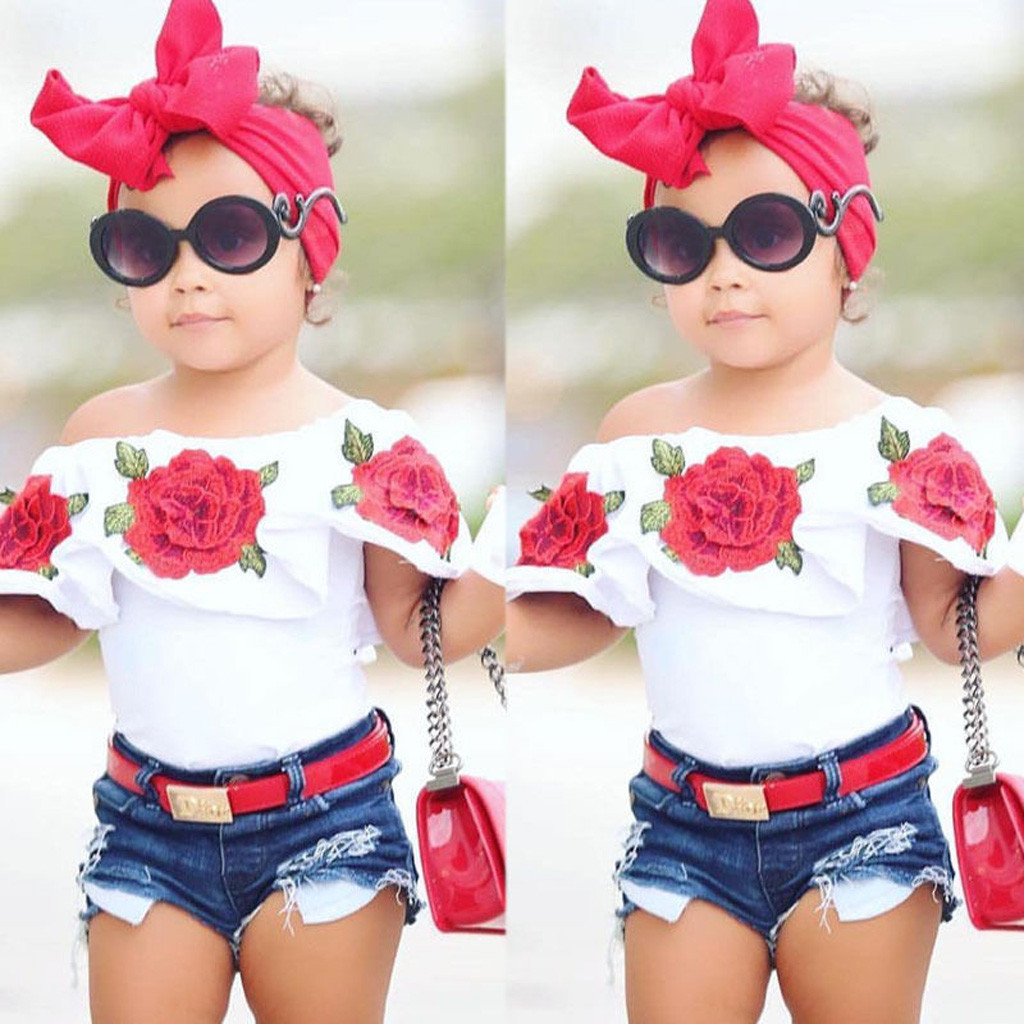 Cute Children Clothes 2019 Summer Toddler Kids Baby Girls Outfits Ruffles Slash Neck Flower Rose Tops Baby Casual Clothing