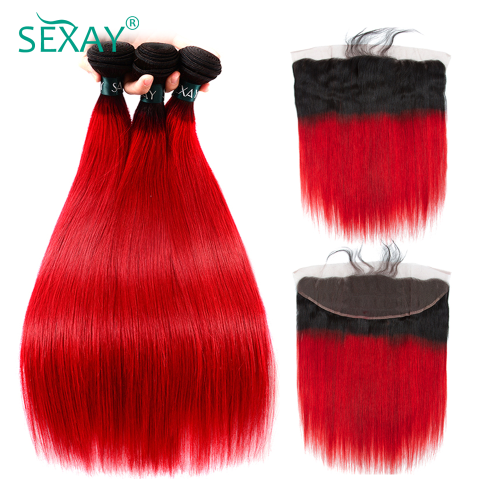 Sexay 13x4 Lace Frontal With Bundles Brazilian Straight Hair 3 Bundles With Closure Dark Roots Red Ombre Human Hair With Frontal