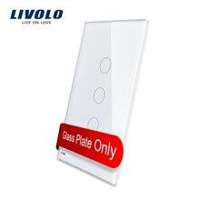 Livolo США стандарт роскошный белый жемчуг Кристалл Стекло, 119 мм* 46 мм, одна стеклянная панель для 3 банды настенный сенсорный выключатель, VL-C5-C3-11/12