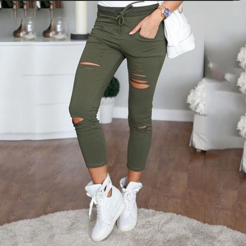 Summer Women Plus Size Pants  High Waist Lace-up Hole Pants Ripper Long Casual Pants Crop Pants Ladies Trousers