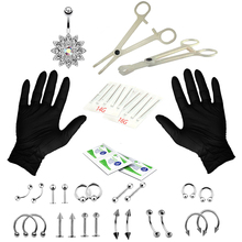 41pcs/set Professional Body Piercing Kit 14/16G Belly Button Tongue Lip Nose Jewelry Rings Clamp Gloves Needles Tools