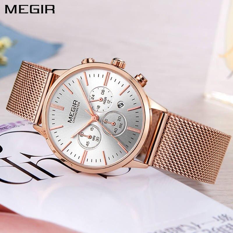 MEGIR Brand Luxury Women Watches Fashion Mesh Band Quartz Ladies - Herrklockor