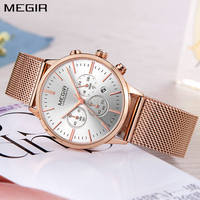 MEGIR Brand Luxury Women Watches Fashion Mesh Band Quartz Simple Ladies Watch Sport Chronograph Clock Wristwatch Montre Femme