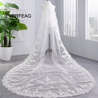 Real 3.5m 2019 New Lace Applique Wedding Veil Long White Ivory 1T Cathedral Women Bridal Veils Wedding Accessories veu de noiva