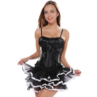Women S Sexy Straps Overbust Corset With Cup Dress Lace Up Boned Lingerie Waist Cincher Bustier