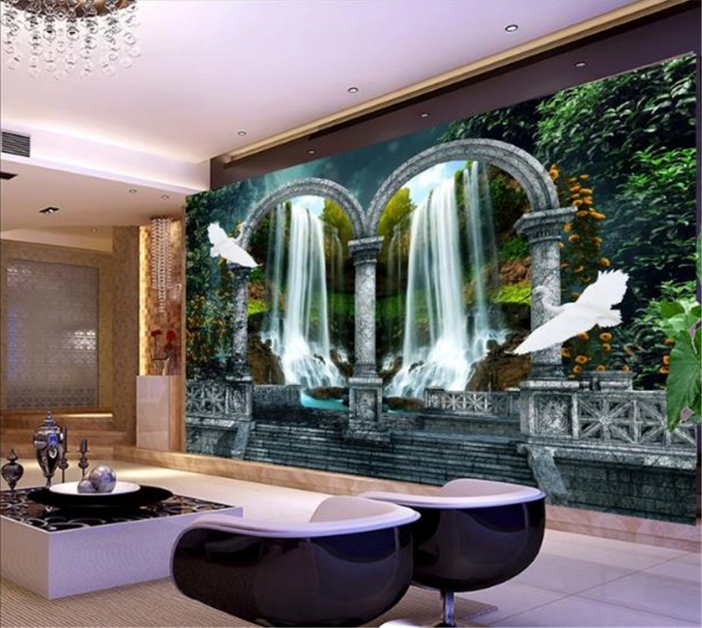 Custom Mural 3D Wallpaper Fantasy Wonderland Waterfall Water Creative HD 3D Landscape Indoor Porch Background Wall Decoration M