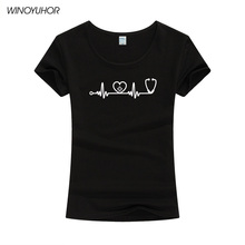 New Heartbeat Of Nurse T Shirts Women Girls Tops Cotton Causal Short Sleeve Female Funny Doctor Gift T-shirt
