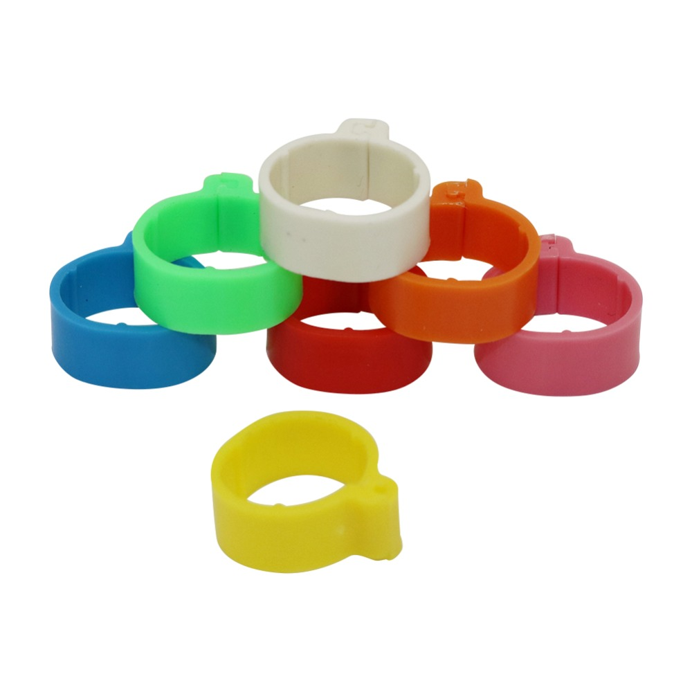 140 Pcs Inner Diameter 1.6cm 7 Colors Plastic Open Type Buckle Chicken Duck Goose Foot Ring Poultry Farming Equipment