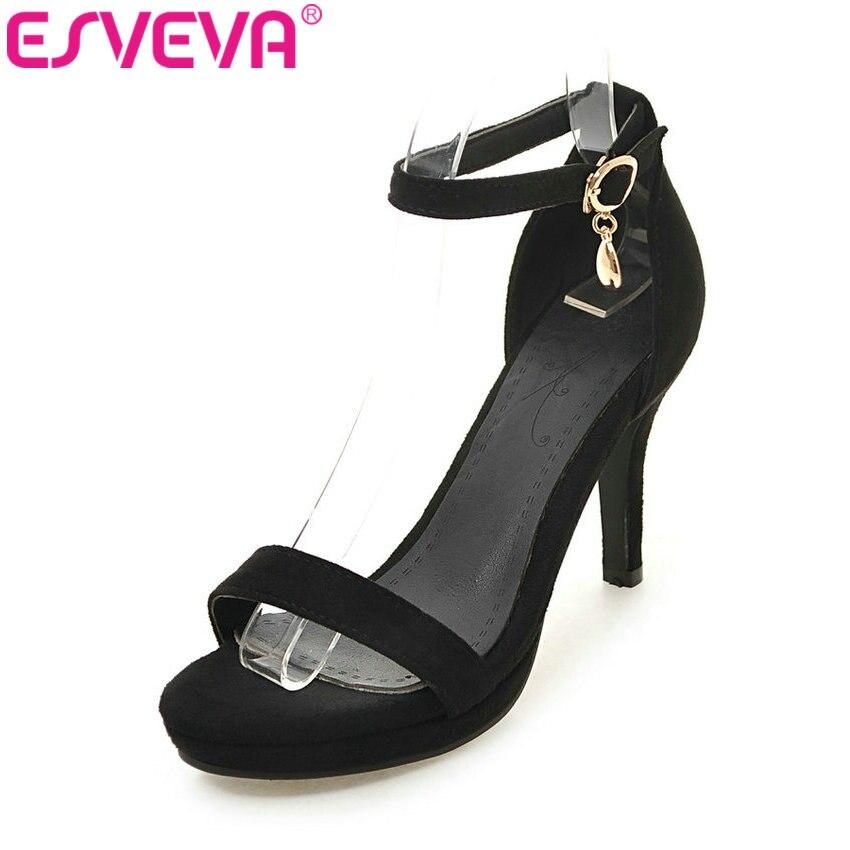ESVEVA 2017 Sexy Rhinestone Ankle Strap Women Sandals Kid Suede Summer Shoes Platform Thin Heel Sandals