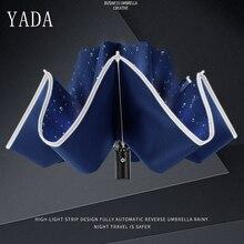 YADA Reflective Stripe Pattern Reverse Umbrella Folding Rainy Automatic Umbrellas For Women Men UV Outdoor YD162