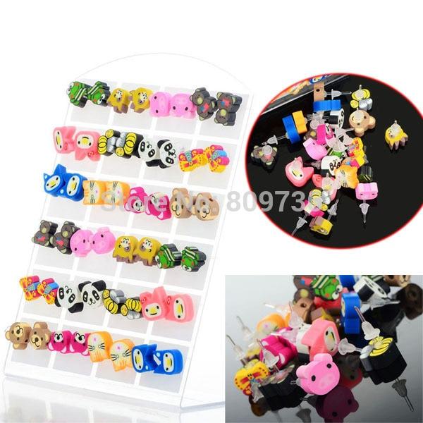 24Pairs/lot Wholesale Mix Styles Polymwer Clay Earring Women Cartoon Animal Panda Stud Earrings Girls Gift Jewelry Cheap