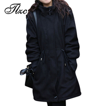 Fashion Lady Winter Clothing Big Size M-4XL Thicken Woolen Warm Jacket 2017 Zipper Hooded Women Casual Coat