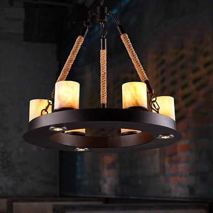 Loft Style Iron Marble Droplight Creative Hemp Vintage Pendant Light Fixtures For Dining Room LED Hanging Lamp Indoor Lighting iron cage loft style creative led pendant lights fixtures vintage industrial lighting for dining room suspension luminaire