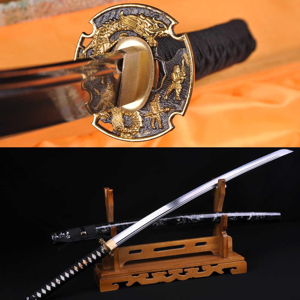 בעבודת יד אותנטי סמוראי קטאנה חרב יפנית פונקציונלית צובה דרקון 1060 גבוהה פחמן פלדת להבים חד מכירה יכול לחתוך במבוק