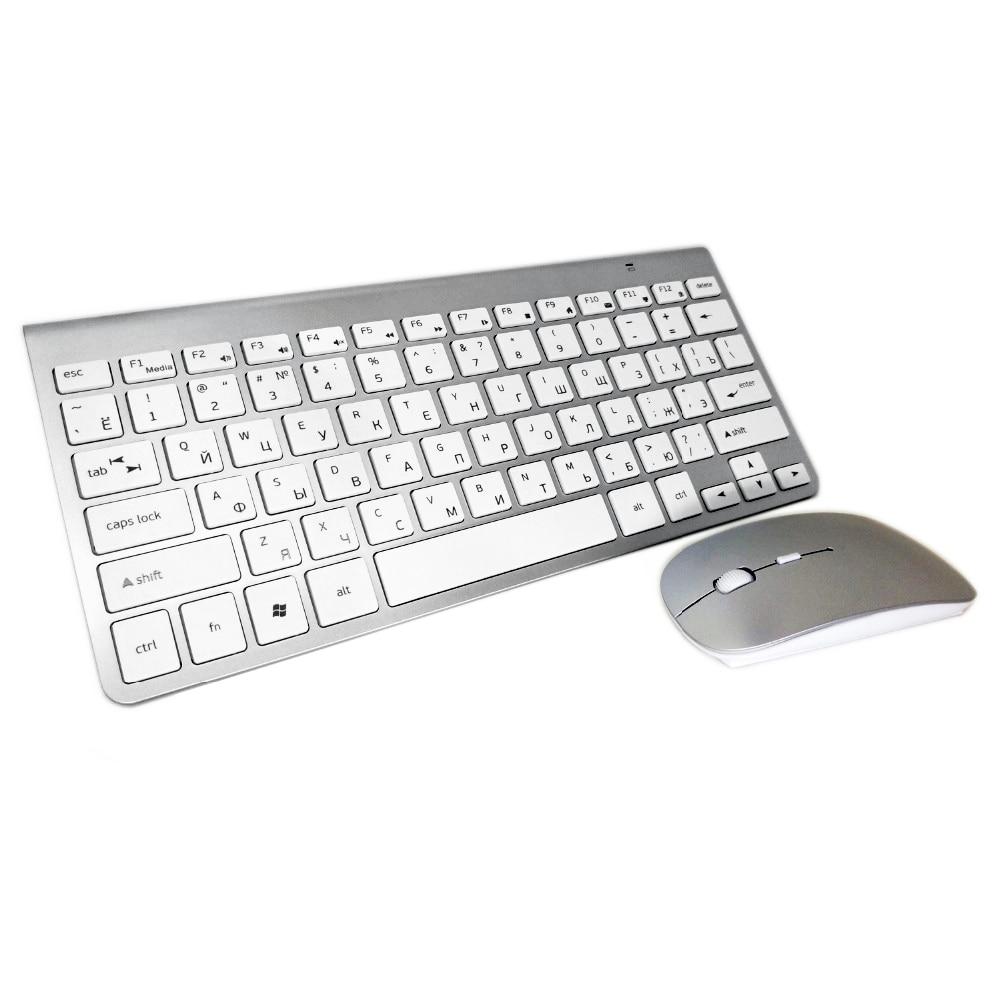 Negócio sem Fio Teclado e Mouse para Windows Caixa de tv 2.4g sem Fio Ultra-fino Russo Combo Andriod Desktop pc Mac