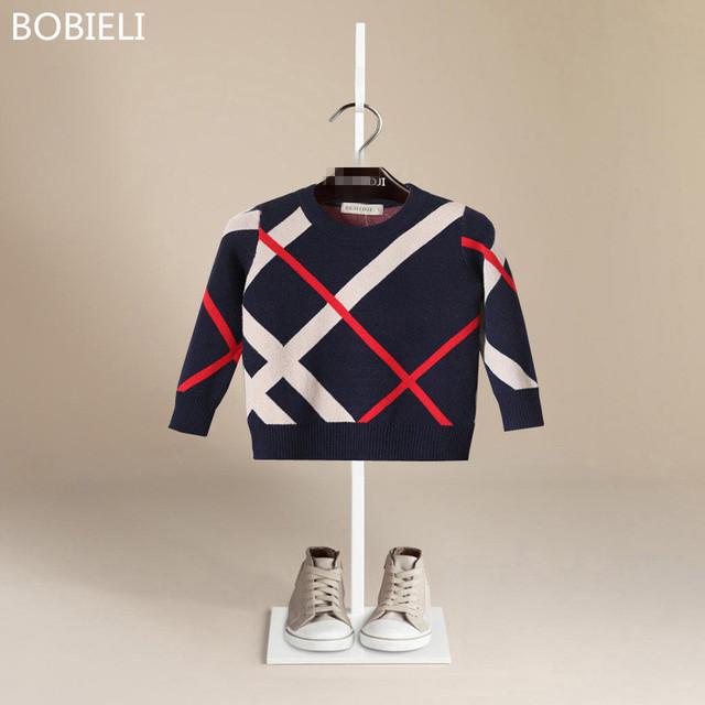 BOBIELI 2016 otoño marca de moda de lujo 100% de algodón de alta calidad suéter niño suéter estilo Europeo niños cálido y confortable