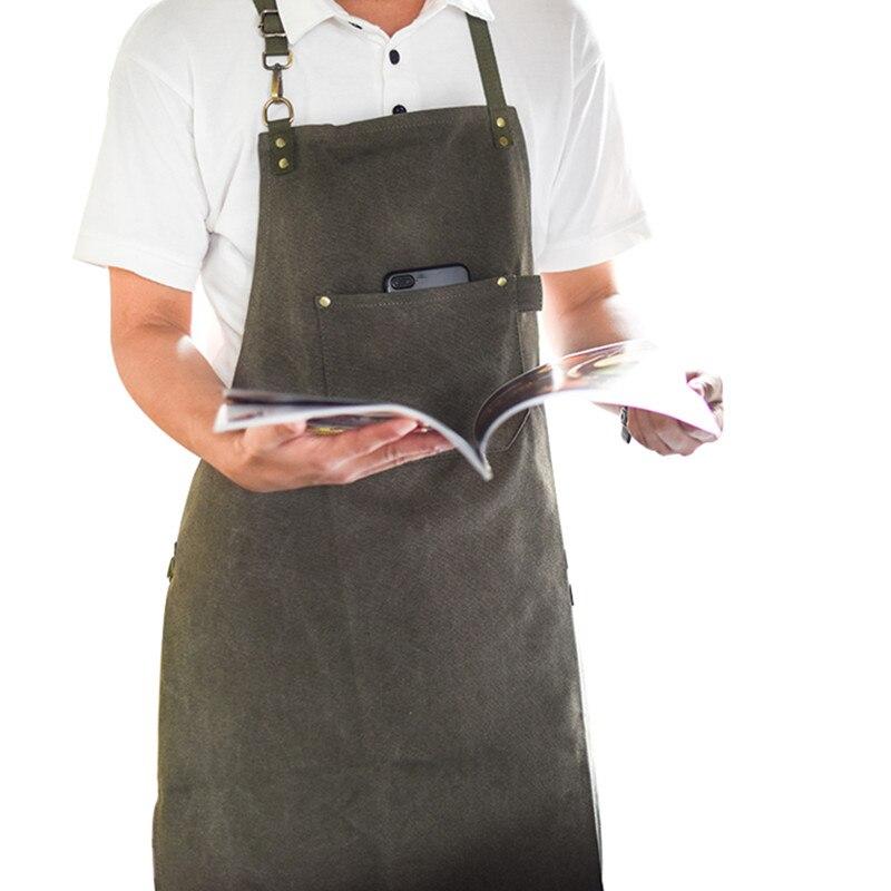 Largo lienzo delantal Barista Bartender panadero Chef Catering uniformes florista carpintero tatuaje artista pintor jardinero trabajo K91