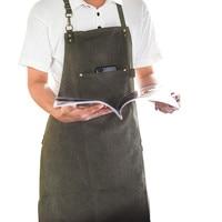 Long Canvas Apron Barista Bartender Baker Chef Catering Uniform Florist Carpenter Tattoo Artist Painter Gardener Work Wear K91