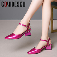 COVIBESCO Fashion Genuine Leather Blingbling Patent Leather Women Sandals 2019 Summer New Sweet Party Shoes Woman Wedding Shoes