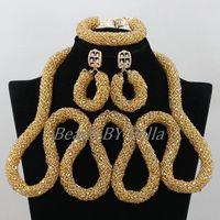 Прозрачная золотистая цвета шампань колье, Свадебные украшения наборы новые женские нигерийские ювелирные изделия Африканские свадебные