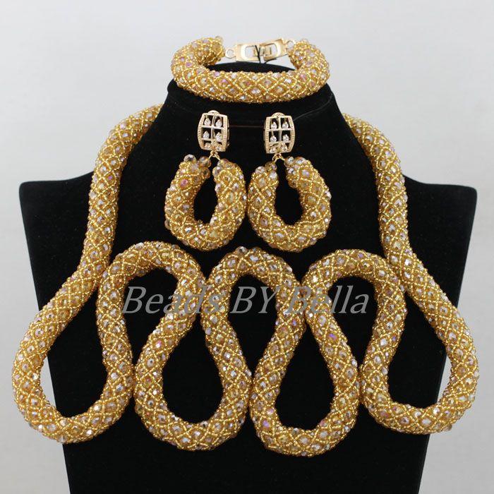 Champagne or cristal collier bijoux de mariée ensembles nouvelles femmes nigérian bijoux africain mariage perles ensemble livraison gratuite ABF930