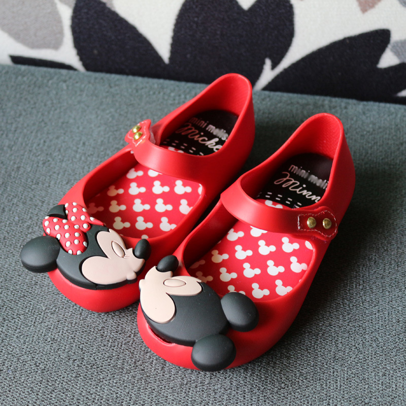 Mini Melissa Mickey Girls Jelly Sandals 2017 Girls Sandals Jelly Sandals PVC Children Sandals Melissa Rain Shoes Minnie Mouse