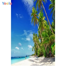 Yeele Seaside Beach Coconut Palm Tree Holiday Boats Photography Backgrounds Personalized Photographic Backdrops For Photo Studio