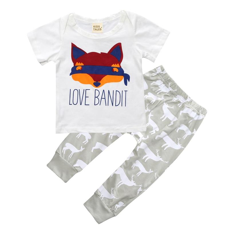 Summer Newborn Baby Boy Clothes Set Fashion Baby Sets Cotton Infant Clothing Sets Short Sleeve Tops+Pants 2 pcs Infant Clothing