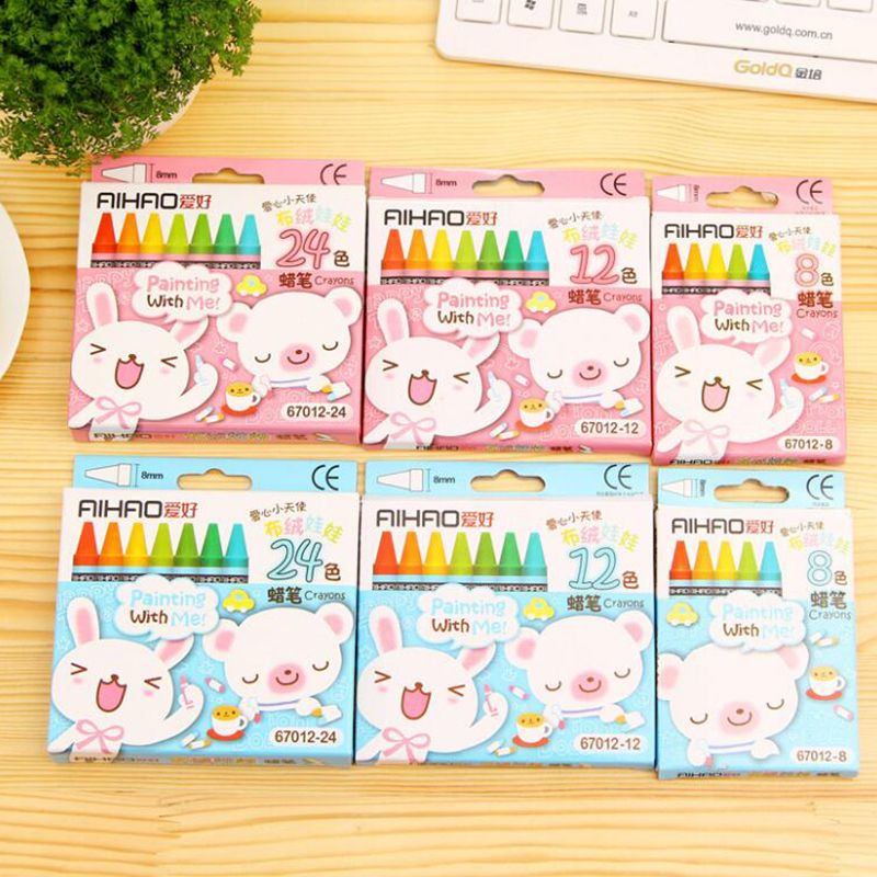 Creative Cartoon 8/12/24 Colors Non-Toxic Crayon Oil Painting Stick Kids Student Pastel Pencils For Drawing