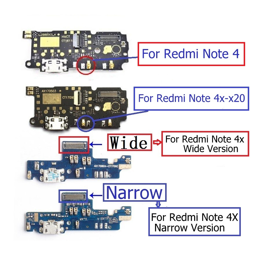 USB Charger Jack Board For Xiaomi Redmi Note 4x X20 Charging Connector For Xiaomi Note 4 USB Charger Port + Microphone Parts