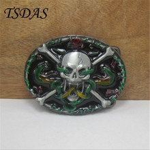 Skull Belt Buckle With Snakes Western Belt Buckle With Pewter Finish Suit For 3.8-4cm Belt Men Birthday Gift