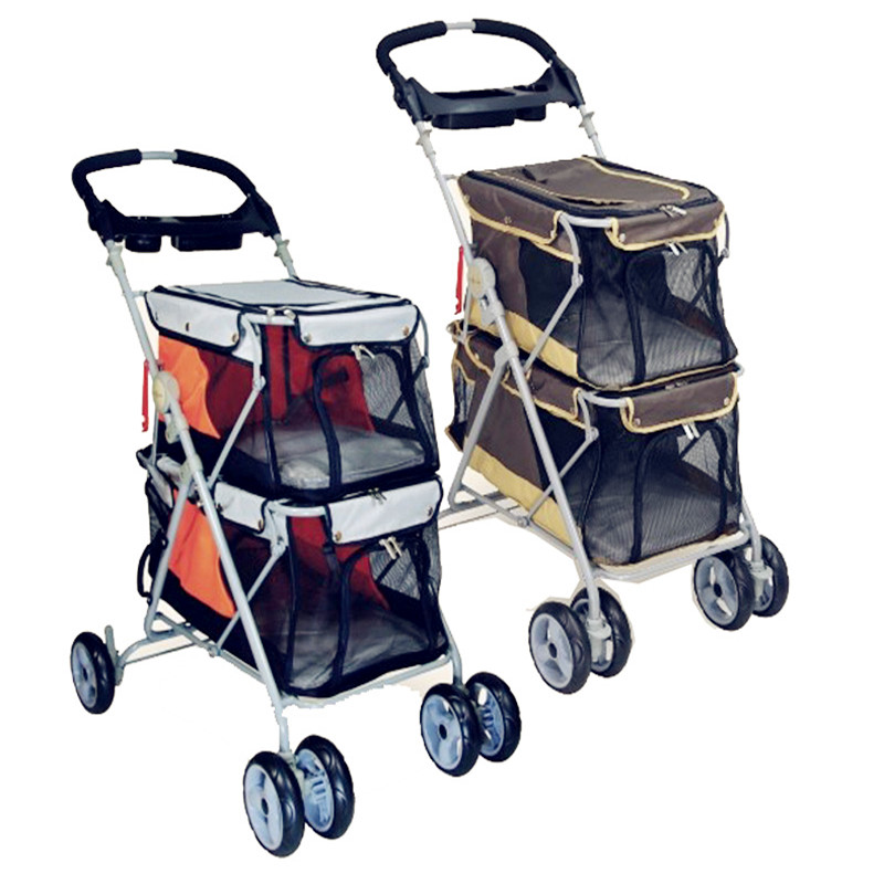 2016 New Design Pet Stroller For 2 Dogs Load 25kg Dog Pushchair Pram/doggy /puppy Strollers For Sale 360 Degree Rotation Cart