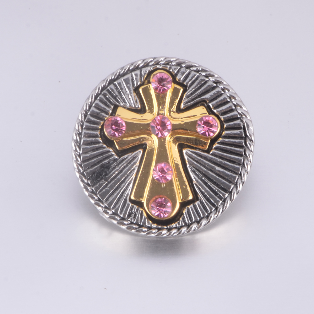 High quality Interchangeable Snap Jewelry pink rhinestone gold cross Snap button charms fit 18mm snap button bangles jewelry