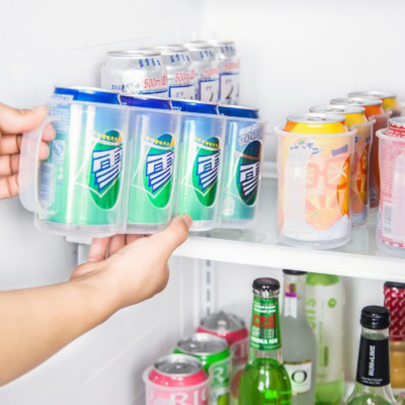 1pcs Aving Space Cans Finishing Box Kitchen Supplies Hand Pull 4 Knots Refrigerator Filling Beverage Storage Box 27.5*7.5*10.5cm