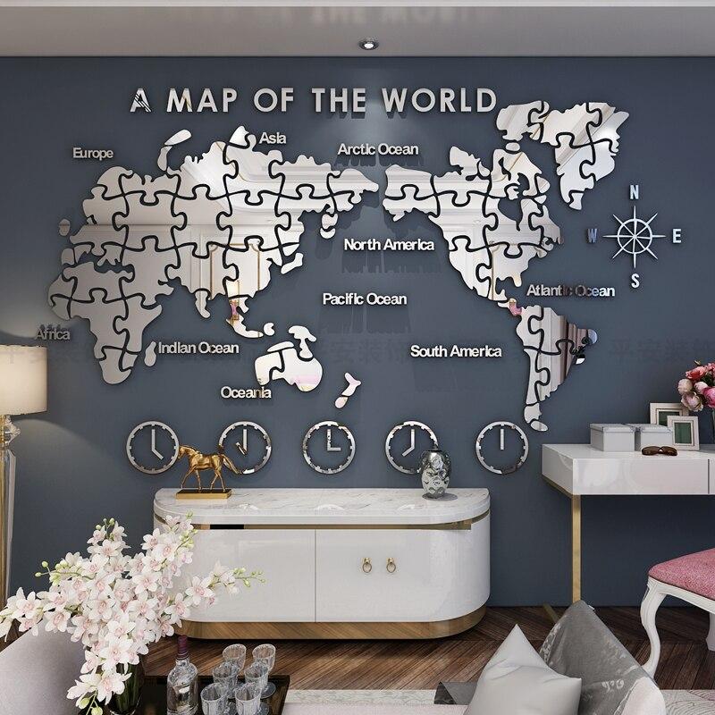 Carte du monde Stickers muraux auto adhérent bureau ou décoration de la maison fond acrylique décoratif noir argenté doré peinture