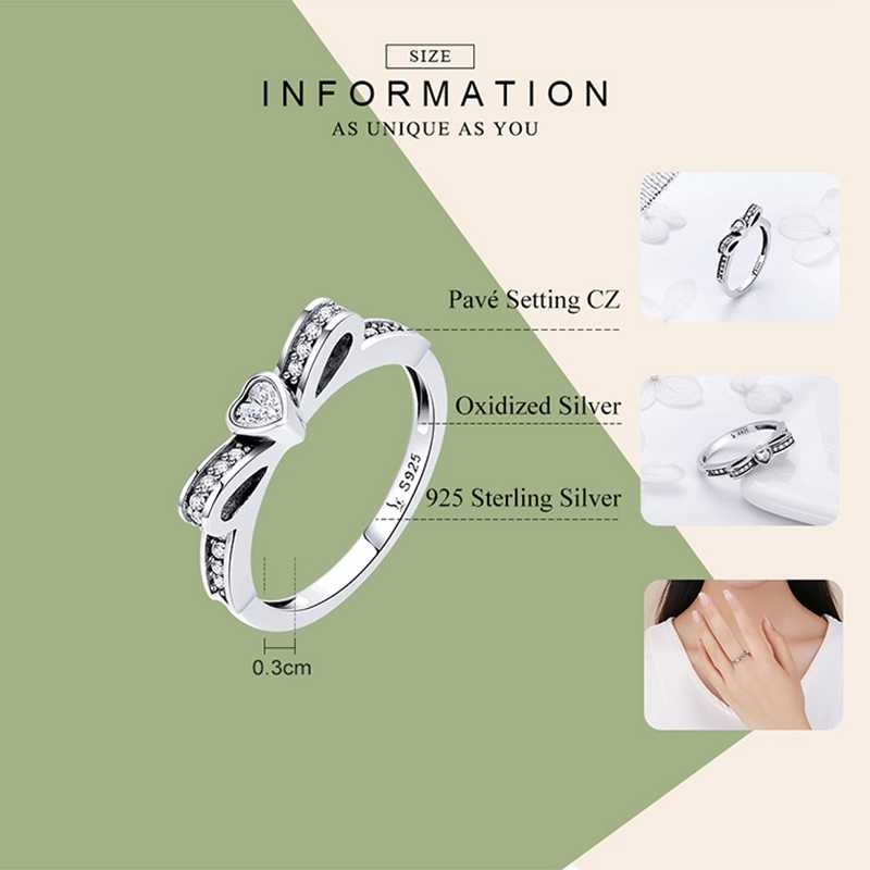 VOROCO วินเทจของแท้ 925 เงินสเตอร์ลิง Girly Bowknot 3A Glitter แหวนผู้หญิงน่ารักเครื่องประดับ Fine ของขวัญครบรอบ BKR373
