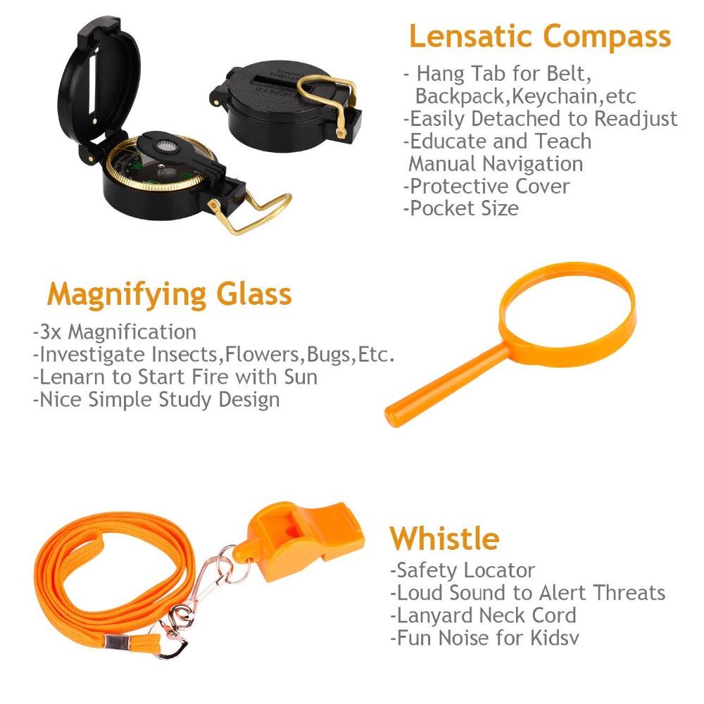 UTTORA Kids Binoculars Toy Set Outdoor Exploration Set Best Gift ...