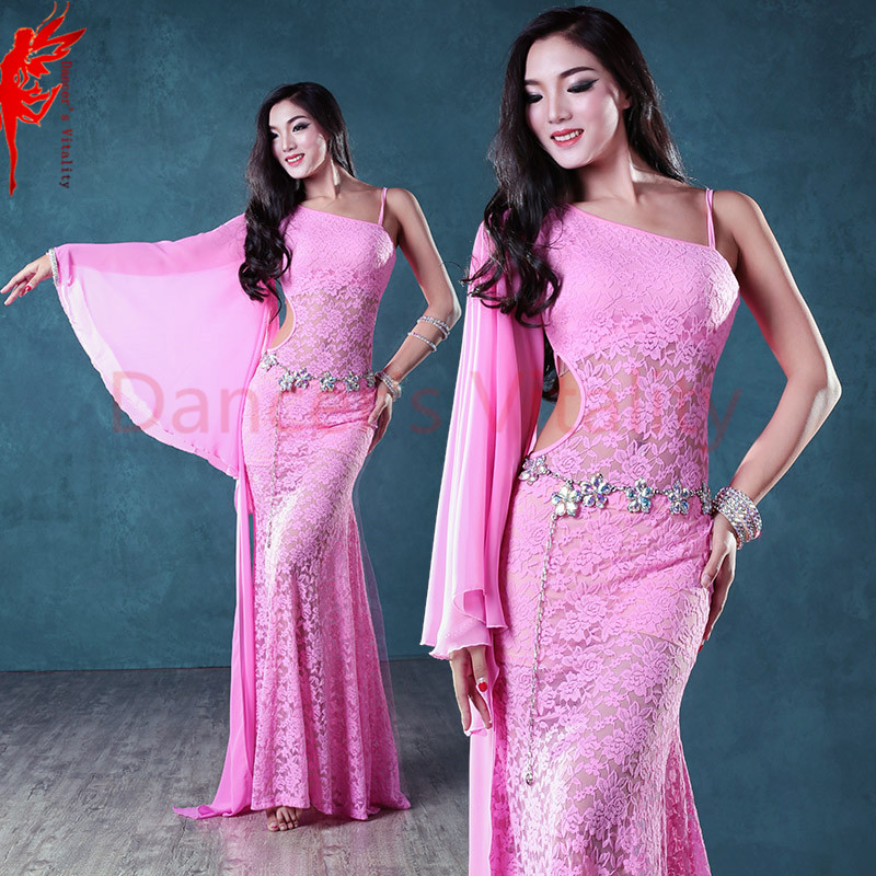 Girls belly dance clothes single lace dance dress for women belly dance dress lady fashion dress M/L  dance clothing