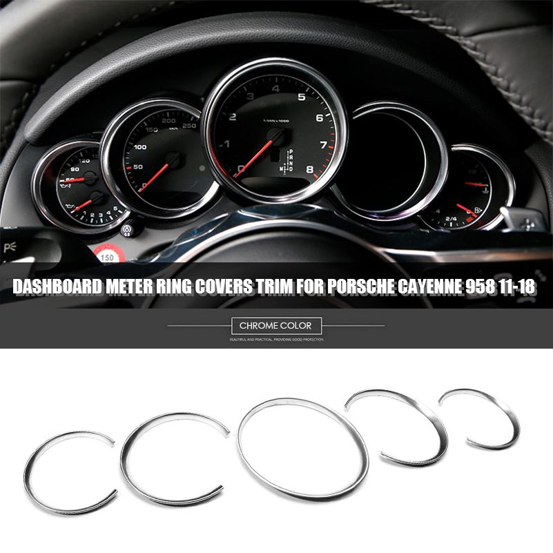 5Pcs Chrome Car Dashboard Meter Ring Covers Trim For Porsche Cayenne 958 11-18
