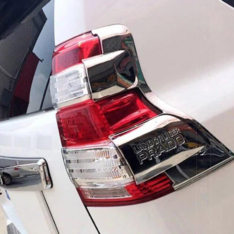 Pour Toyota Prado 150 2014-2017 ABS Chrome feux arrière feux arrière cadre couvercle garniture voiture style accessoires 2 pièces