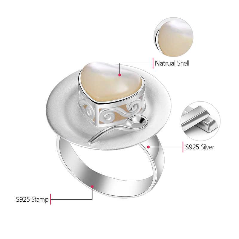 Lotus สนุกจริง 925 เงินสเตอร์ลิงธรรมชาติ Handmade Love Heart เค้กช้อน Designer เครื่องประดับช่วงบ่ายออกเดทแหวนหญิง