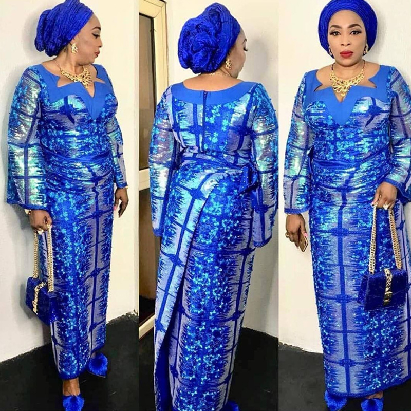 Nigerian Tulle Mesh Lace Fabrics with Sequin Latest 2019 High Quality African Sequins Lace Fabric for
