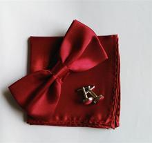 3pcs set men bow tie handkerchief  cuff link white butterfly dress shirt collar button bowtie hanky cufflink clasp satin bowknot